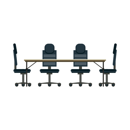 Office desk and chairs cartoons vector illustration graphic design
