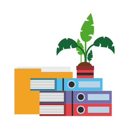 Books and plant pot with folder vector illustration graphic design