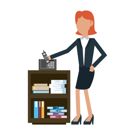 Businesswoman with telephone at office vector illustration graphic design