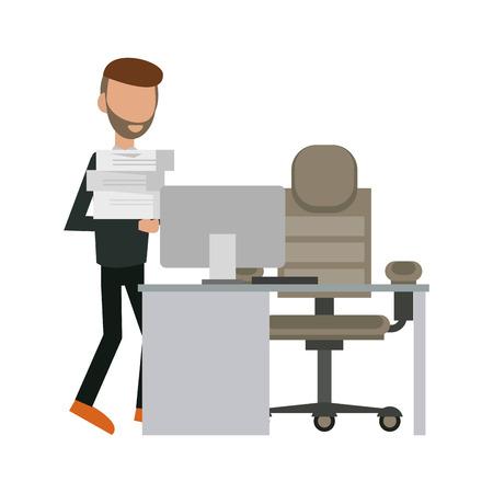 Businessman holding documents at office vector illustration graphic design Illustration