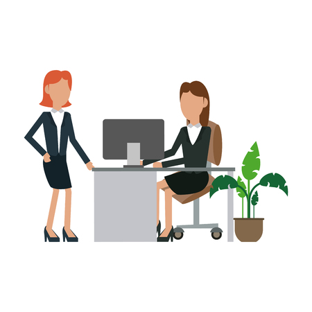 Businesswomens working with computer at office vector illustration graphic design Illustration