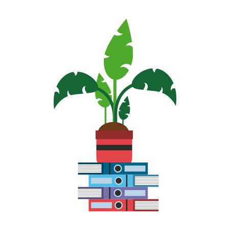Plant pot on books vector illustration graphic design Vector Illustratie