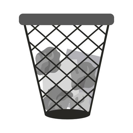 Paper bin isolated vector illustration graphic design