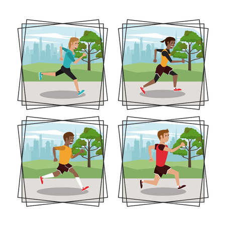Set of people running frame icons collection vector illustration graphic design