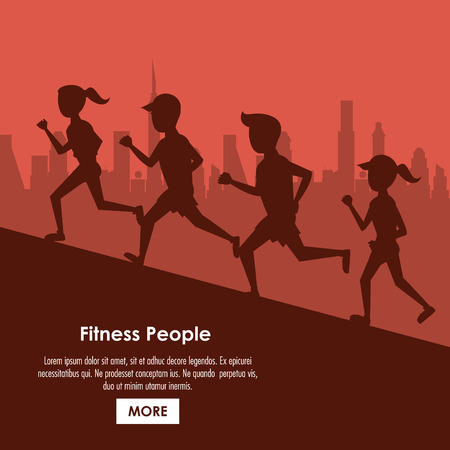 Fitness people running at city cartoon poster with information vector illustration graphic design