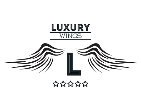 Luxury wings emblem in black and white colors vector illustration graphic design