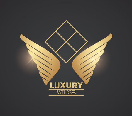 Luxury wings emblem in black and gold colors vector illustration graphic design