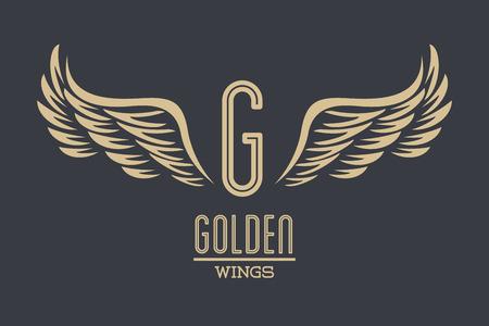 Luxury golden wings emblem over gray background vector illustration graphic design