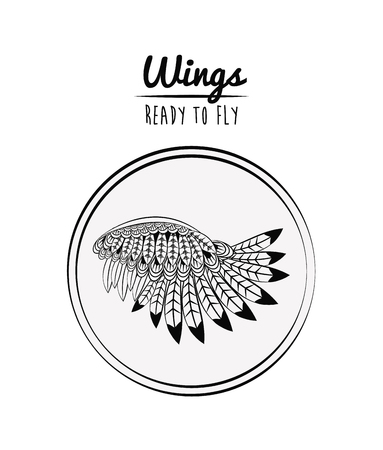 Wings ready to fly draw round emblem cartoon vector illustration graphic design