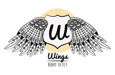 Wings ready to fly with badge draw emblem vector illustration graphic design