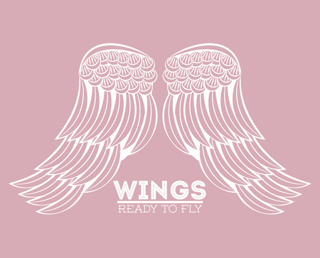 Wings ready to fly colorful draw emblem vector illustration graphic design