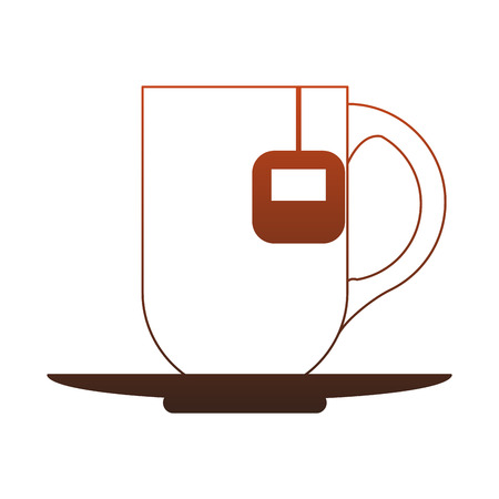 Hot tea cup with bag vector illustration graphic design