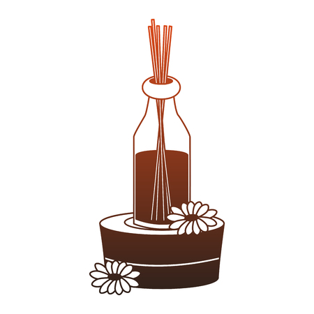 Spa oil bottle on stones vector illustration graphic design