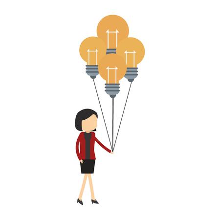 Businesswoman holding bulb light balloons vector illustration graphic design