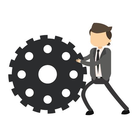 Businessman pushing gear vector illustration graphic design Illustration