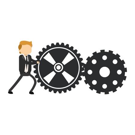 Businessman pushing gears vector illustration graphic design