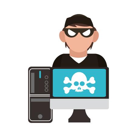 Hacker on computer vector illustration graphic design