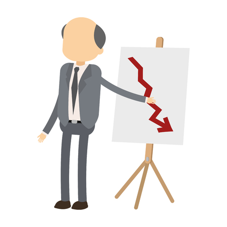 Adult businessman with statistics decreasing on whiteboard vector illustration graphic design