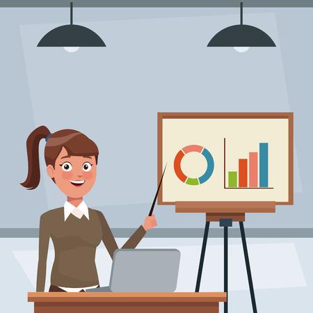Zakenvrouw werken op kantoor vector illustratie grafisch ontwerp