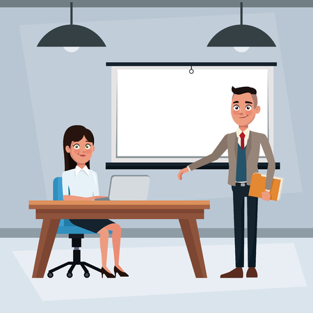 Business meeting with executive people cartoons vector illustration graphic design