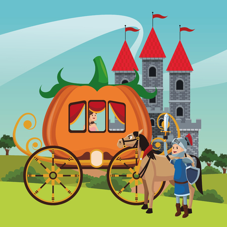 Kingdom medieval warrior and horse with pumpkin carriage vector illustration graphic design