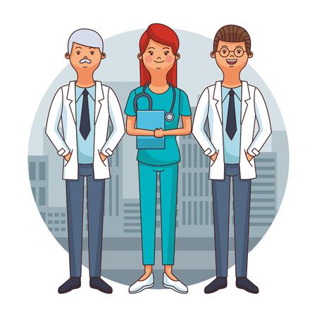 Doctors teamwork at city round icon cartoons vector illustration graphic design Ilustracja