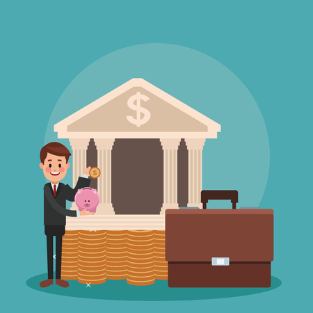 Businessman golding piggy and coin at bank building vector illustration graphic design
