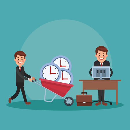Businessman pushing wheelbarrow with clock to office vector illustration graphic design
