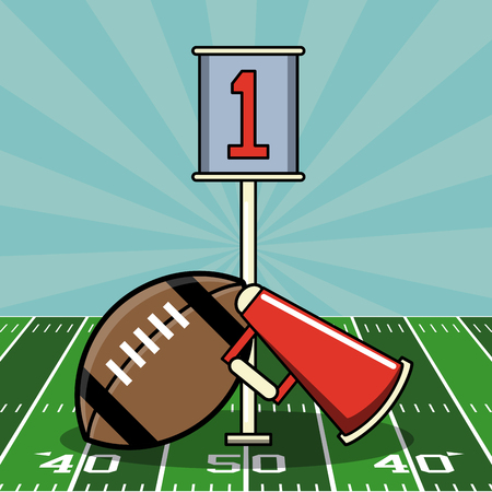 Super bowl american football elements on field vector illustration graphic design Çizim