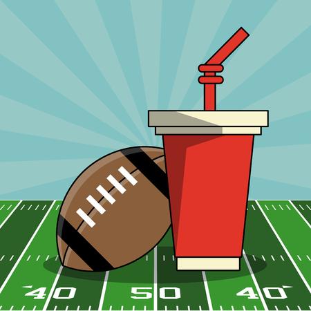 Super bowl american football elements on field vector illustration graphic design Illustration