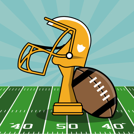 Super bowl cup and elements on football field vector illustration graphic design