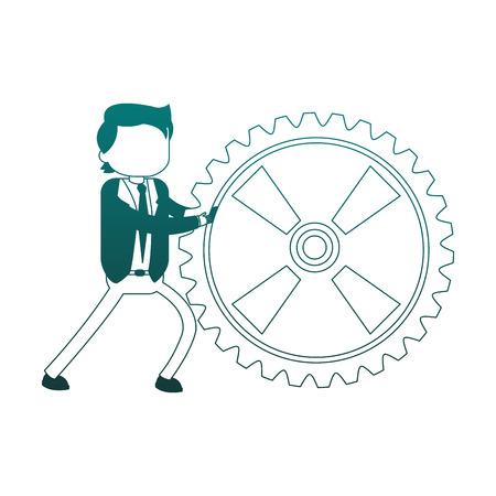 Businessman pushing gear vector illustration graphic design 일러스트