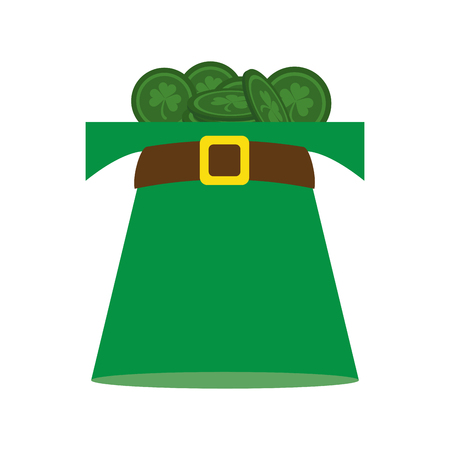 Irish elf hat with coins inside vector illustration graphic design