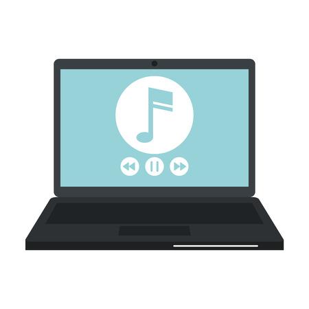Digital music on laptop vector illustration graphic design