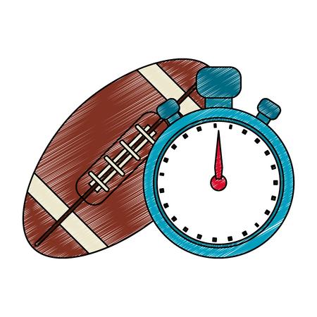 Football ball and timer vector illustration graphic design Illustration