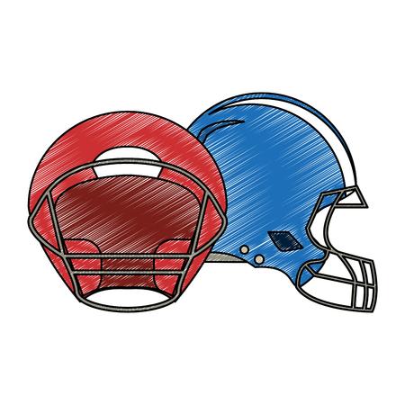 Football helmets isolated vector illustration graphic design