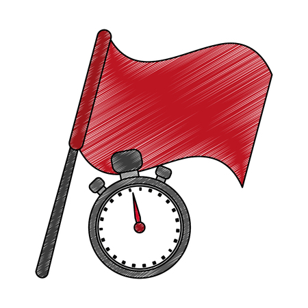 Red flag and timer vector illustration graphic design