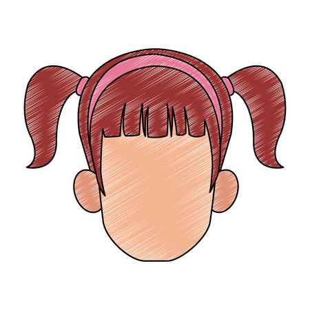 Woman with headband faceless head vector illustration graphic design