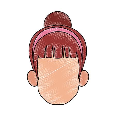 Woman with headband faceless head vector illustration graphic design