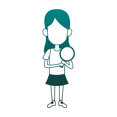 Girl with ping pong racket vector illustration graphic design
