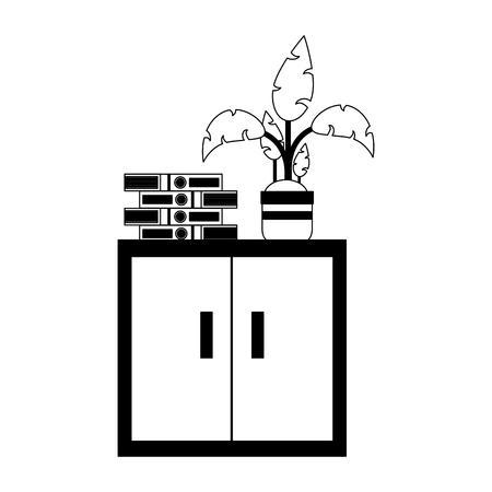 Plant pot on books vector illustration graphic design Illustration