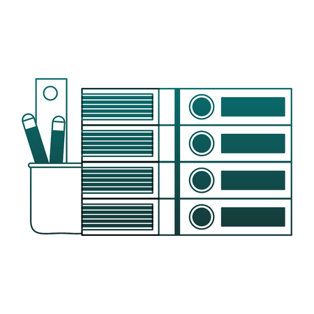 Folders and pencils in cup vector illustration graphic design