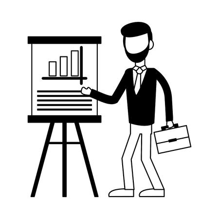 Businessman showing statistics on whiteboard vector illustration graphic design 矢量图像