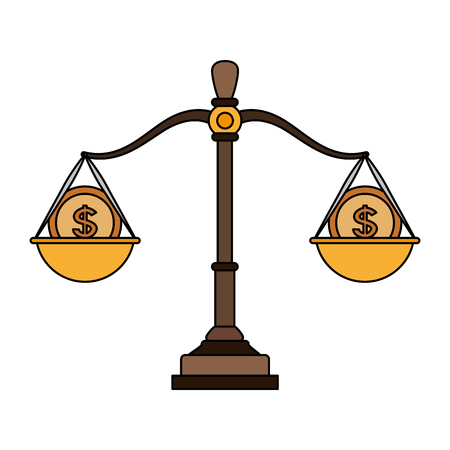 Justice balance with money bags vector illustration graphic design Ilustrace