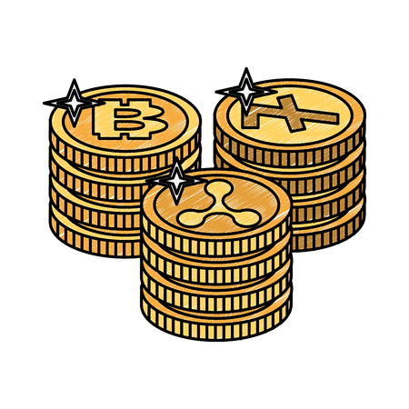 Bitcoins and cryptocurrency stacked vector illustration graphic design