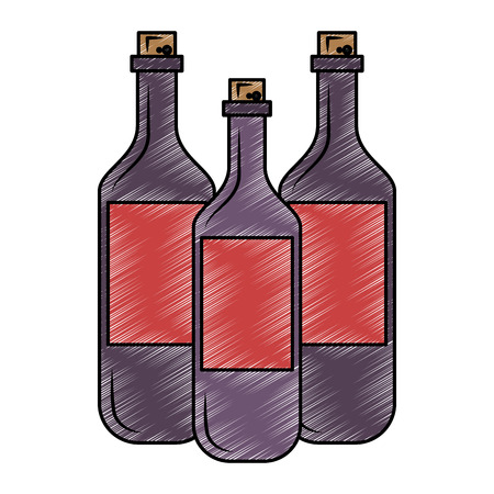 Wine bottles isolated vector illustration graphic design