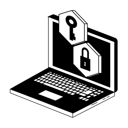 Laptop security system vector illustration graphic design