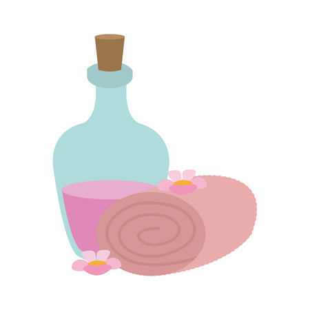 Spa oil and towels vector illustration graphic design