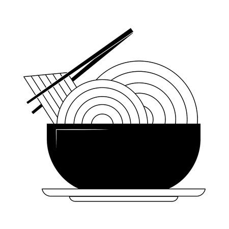 Noodle on dish vector illustration graphic design