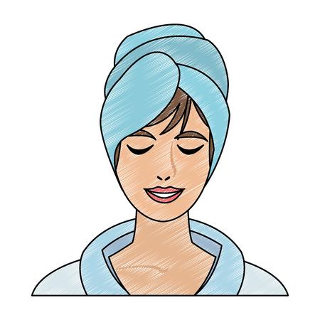 Cara de mujer con diseño gráfico de ilustración de vector de toalla